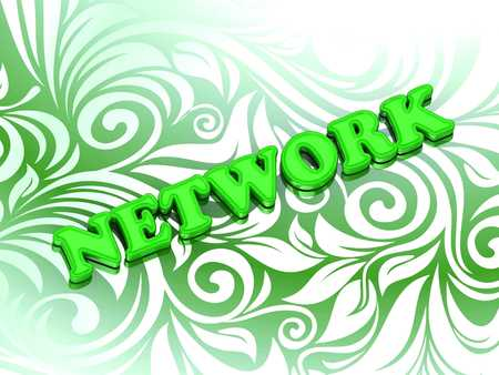 www community: NETWORK- bright color letters on nice green ornament background