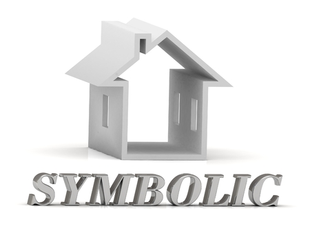 symbolics: SYMBOLIC- inscription of silver letters and white house on white background