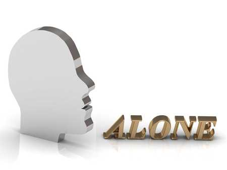 free thinking: ALONE bright color letters and silver head mind on a white background Stock Photo