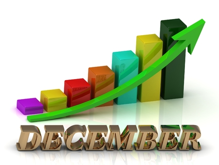 green arrows: DECEMBER bright of gold letters and Graphic growth and green arrows on white background Stock Photo