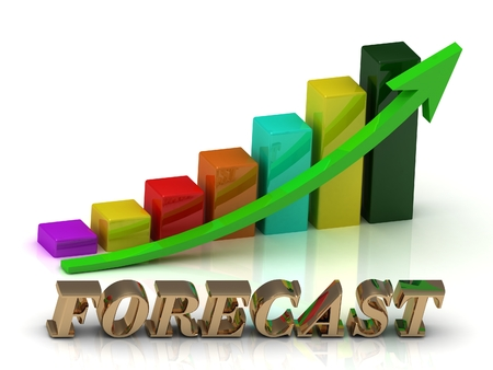 green arrows: FORECAST  bright of gold letters and Graphic growth and green arrows on white background