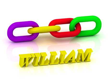 william: WILLIAM- Name and Family of bright yellow letters and chain of green, yellow, red section on white background Stock Photo