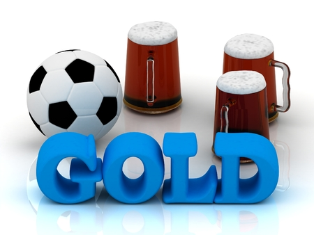 currency glitter: GOLD blue bright word, football, 3 cup beer on white background Stock Photo