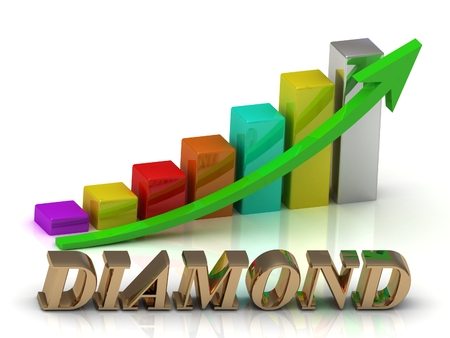 green arrows: diamond bright of gold letters and Graphic growth and green arrows on white background