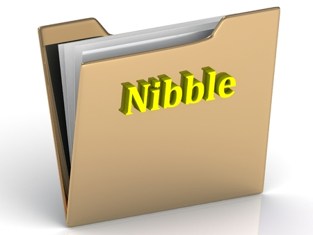 nibble: Nibble- bright color letters on a gold folder on a white background