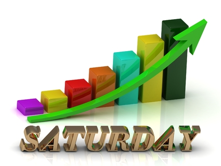 saturday night: SATURDAY bright of gold letters and Graphic growth and green arrows on white background