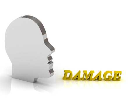 ruined house: DAMAGE bright color letters and silver head mind on a white background Stock Photo