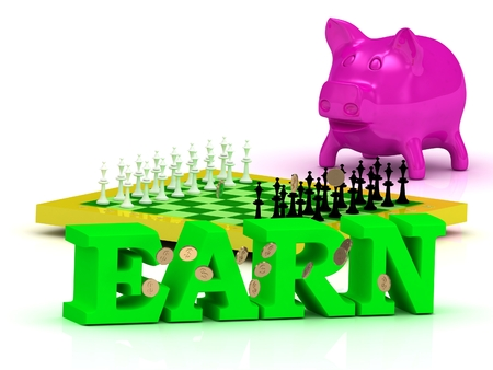 earn money: EARN bright word, money, pink piggy, yellow chess on white background