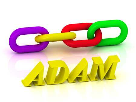 adam: ADAM- Name and Family of bright yellow letters and chain of green, yellow, red section on white background