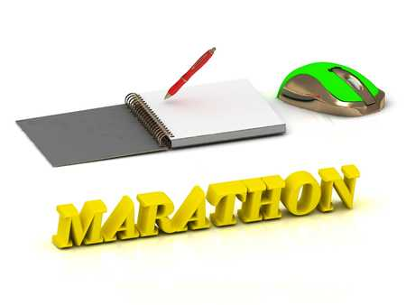 endurance: MARATHON  inscription bright volume letter and textbooks and computer mouse on white background