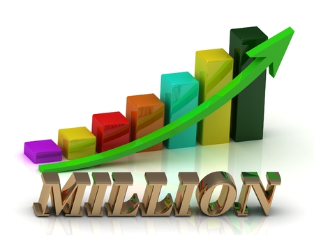 MILLION: MILLION bright of gold letters and Graphic growth and green arrows on white background