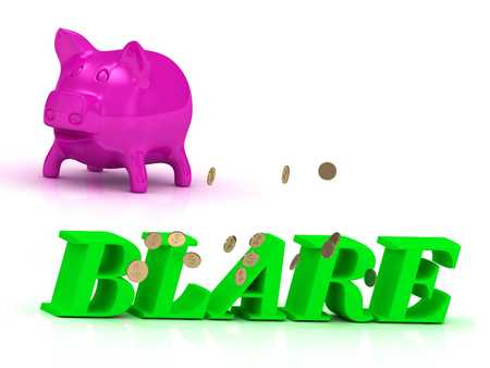 blare: BLARE bright of green letters and rose Piggy on white background
