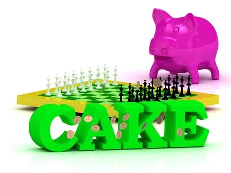 bright cake: CAKE bright word, money, pink piggy, yellow chess on white background Stock Photo