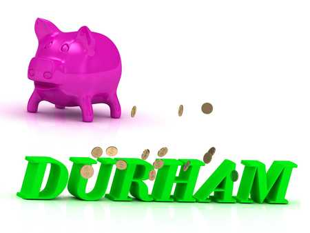 durham: DURHAM bright of green letters and rose Piggy on white background