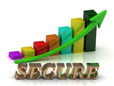 secure growth: SECURE bright of gold letters and Graphic growth and green arrows on white background