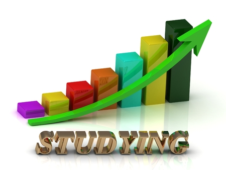 green arrows: STUDYING bright of gold letters and Graphic growth and green arrows on white background Stock Photo