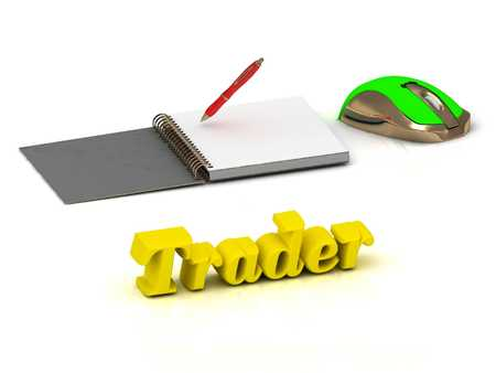 trader: Trader bright color yellow volume letter and textbooks and computer mouse on white background