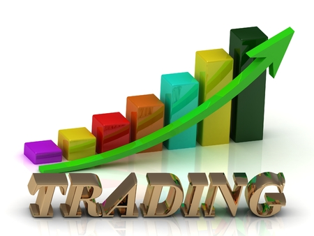 green arrows: TRADING bright of gold letters and Graphic growth and green arrows on white background