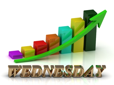 wednesday: WEDNESDAY bright of gold letters and Graphic growth and green arrows on white background