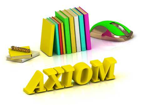 axiom: AXIOM inscription bright volume letter and textbooks and computer mouse on white background