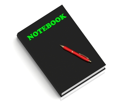 spiral binding: NOTEBOOK- inscription of green letters on black book on white background Stock Photo