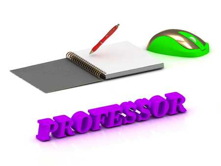 webcast: PROFESSOR  inscription bright volume letter and textbooks and computer mouse on white background Stock Photo