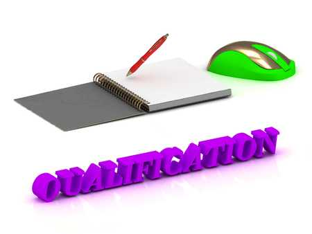 qualification: QUALIFICATION  inscription bright volume letter and textbooks and computer mouse on white background Stock Photo