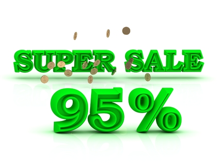 95: 95  PERSENT SUPER SALE business sign green keywords isolated on white background Stock Photo