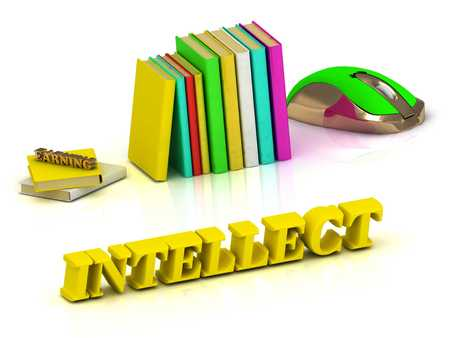intellect: INTELLECT bright color yellow volume letter and textbooks and computer mouse on white background