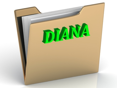 diana: DIANA- bright green letters on gold paperwork folder on a white background