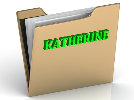 katherine: KATHERINE- bright green letters on gold paperwork folder on a white background