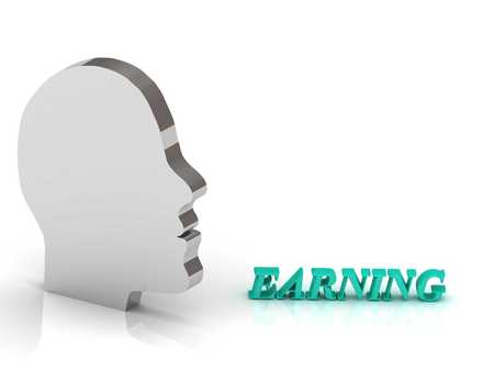 earning: EARNING bright color letters and silver head mind on a white background Stock Photo