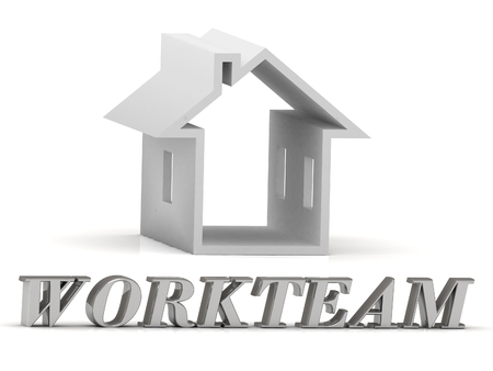 workteam: WORKTEAM- inscription of silver letters and white house on white background