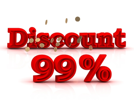 99: 99  PERSENT DISCOUNT HOT PRICE Bright red keywords isolated on white background Stock Photo