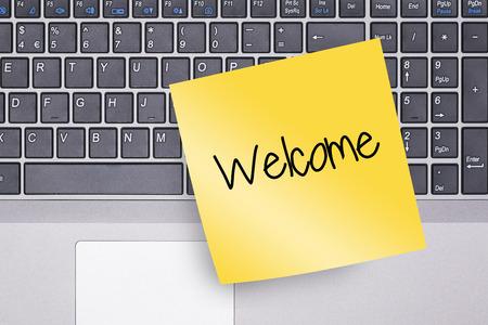 Willkommen Hinweis auf Tastatur-Konzept Foto Standard-Bild - 49906143