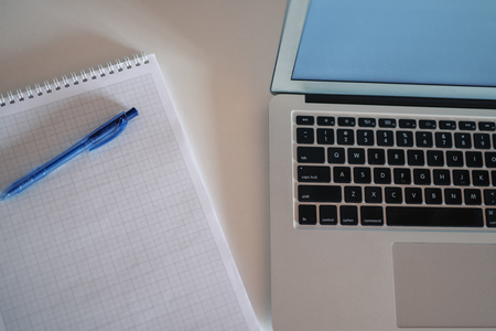 Laptop and notebook concept closeup. Above shot Standard-Bild - 116002440