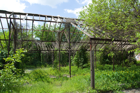 abandoned: Abandoned greenhouses Stock Photo