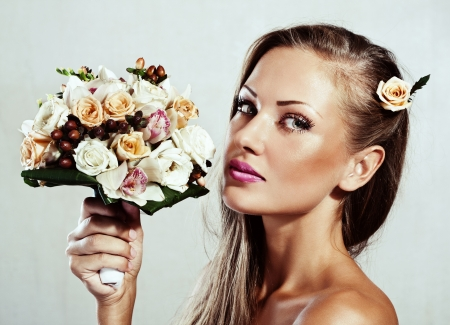 beautiful woman with flowers , makeup Stock Photo - 15587928