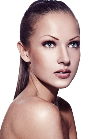 closeup portrait of a fashion model , with perfect clean skin and makeup Stock Photo - 15587958