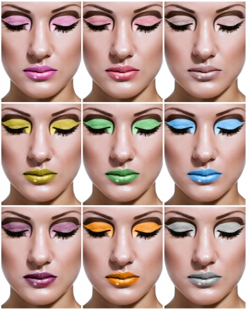 collage of a beautiful young woman with glamour make up , make-up , mixed color , perfect clean skin