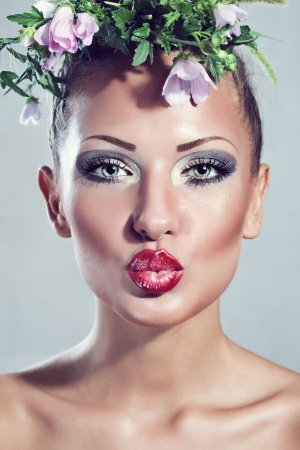 fantasy makeup: beautiful woman with make up and perfect clean skin