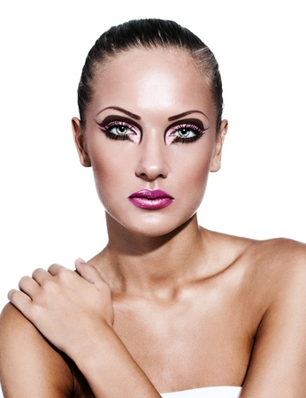 fashion model , beautiful woman with glamour makeup photo