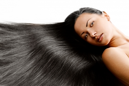 woman with healthy long shiny hair photo