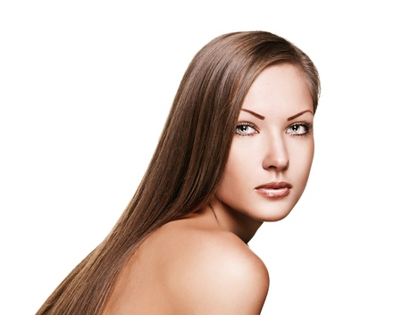 portrait of a beautiful woman with long healthy shiny straight hair , isolated on white Stock Photo - 15661614