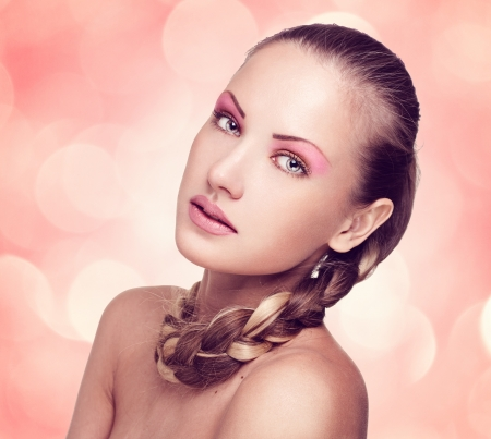 closeup portrait of a beautiful woman with fashion makeup Stock Photo - 15690451