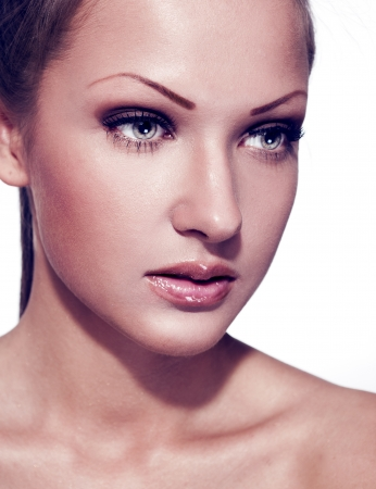 beautiful sensual woman with perfect clean skin face , make up photo