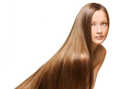 long brown hair: closeup portrait of a beautiful young woman with elegant long shiny hair , concept hairstyle
