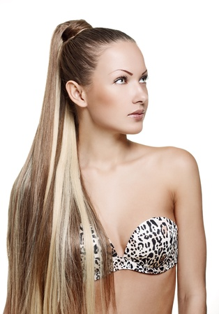 fashion glamour woman with long straight hair in bra