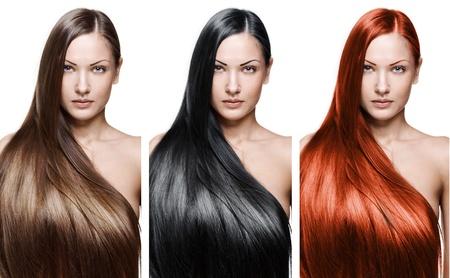 cabello lacio: retrato de una bella mujer joven con el pelo largo y brillante elegante peinado, aislado sobre fondo blanco