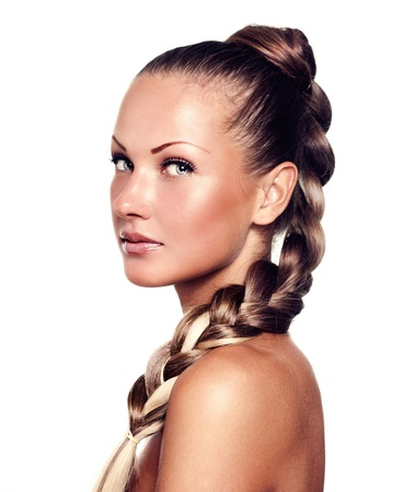 braids: beautiful young woman with long mixed color hair , hairstyle braid